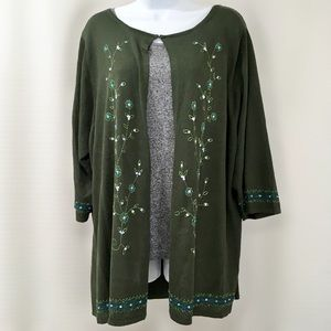 Avenue Floral Embroidered Open Front Cardigan, 3X